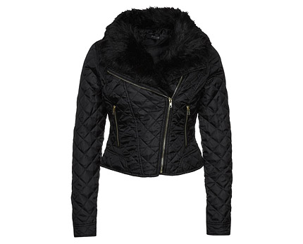 Quilted Bomber Jacket with Fur Collar at Zalando