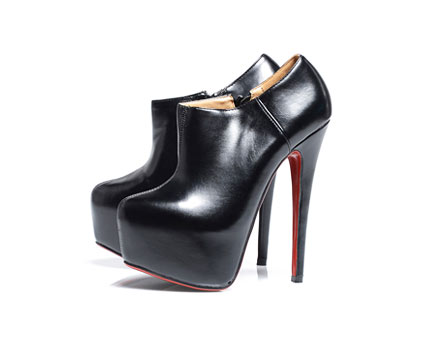 Black Red Sole Platform Ankle Boots at AxParis