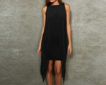 Sleeveless Jersey Dress with Sheer Overlay at Urban Outfitters