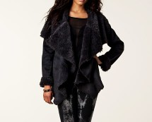Suede and Fur Wrap Over Coat at Nelly