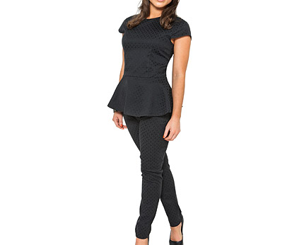 Louise Thompson Textured Peplum Top & Trousers at Goddiva