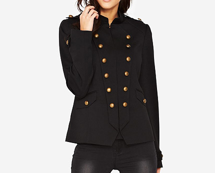 Military Style Jacket - Black @ lookcubes - Affordable Fashion