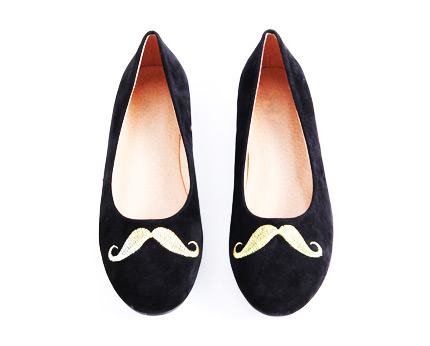 Ballet Pumps with Moustache Embroidery at Missguided