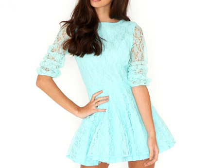 Cut Out Lace Skater Dress at Missguided