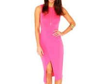 Front Split Midi Bodycon Dress at Missguided