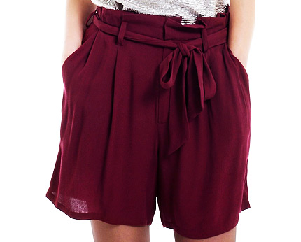 High Waist City Shorts with Belt at Ellos