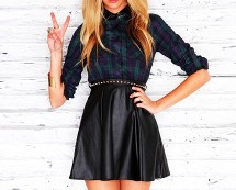 Leather Contrast Tartan Skater Dress at Missguided