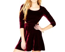 Long Sleeve Velvet Cut Out Dress at Missguided