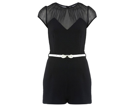 Mesh Insert Playsuit at Miss Selfridge