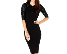 Midi Bodycon Dress with Leather Sleeves at Missguided