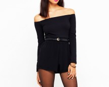 Playsuit With Long Off Shoulder Sleeves at Motel Rocks