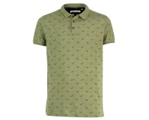 Olive Printed Polo Shirt  at New Look
