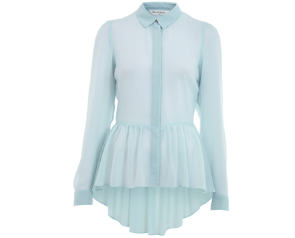 Light Blue Peplum Shirt at Miss Selfridge