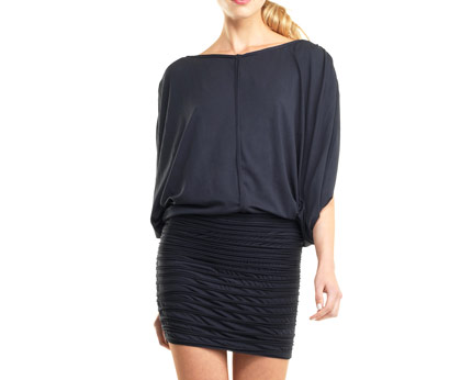 Blouson Tunic with Draped Sleeves - Black