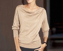 Button Back Cowl Neck Jumper - Beige