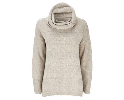 Stone Deep Rib Cowl Neck Sweater