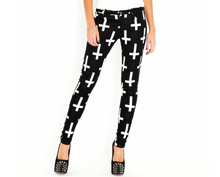 Cross Print Skinny Jeans - Black
