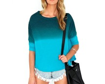 Dip Dye Batwing Jumper - Teal, Green