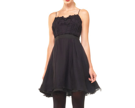 Dress with Pleated Detail - Black