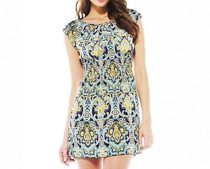 Elasticated Waist Paisley Dress