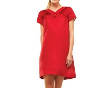 Linen Short Sleeve Dress - Red, White