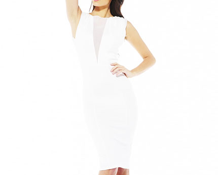 Mesh Front Midi Dress - White, Black