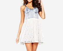Motel Denim Bodice Strappy Dress