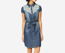 South Lace Insert Denim Dress