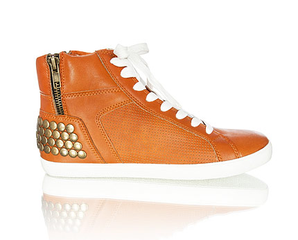 Studded High Top Trainers - Orange