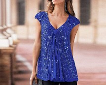 Together Beaded V-Neck Top