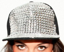 Women's Square Stud Cap - Black