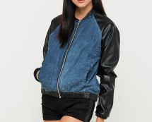 Denim Bomber Jacket With PU Sleeves Motelrocks