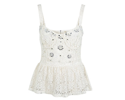 Embellished Lace Peplum Top - Cream