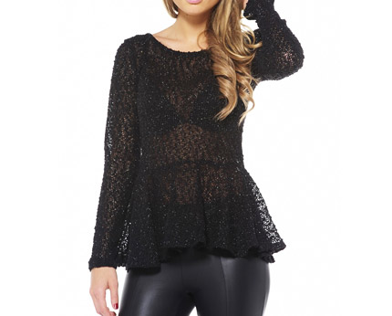 Fine Knit Peplum Top - Black, Burgundy and More