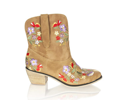 Floral Embroidered Cowgirl Boots Goddiva