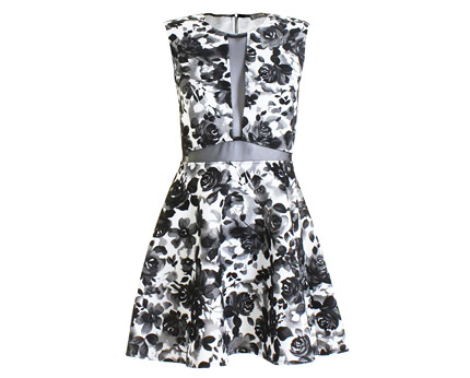 Floral Flock Plunge Neck Dress - Black, Coral and More