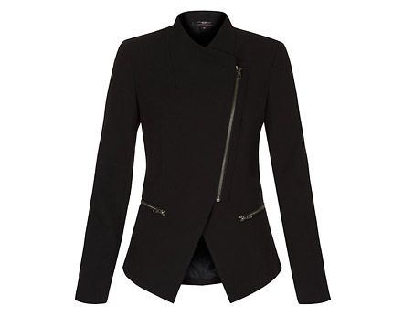 High Lapel Biker Zip Blazer - Black