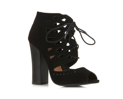 Lazercut Lace Up Boots - Black