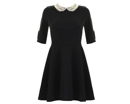 Marcella Dress with Pearl Collar - Black, Navy