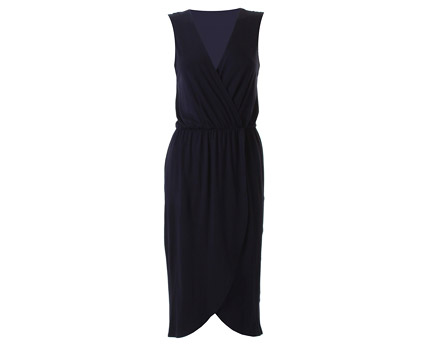 Midi Sleeveless Wrap Dress - Navy, Black