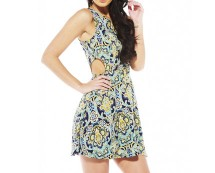 Print Side Cut Out Dress