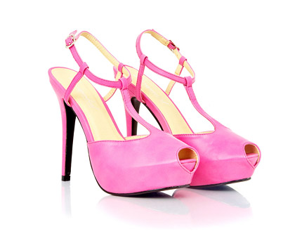 Peep Toe Faux Leather Sandals - Pink, Red and More