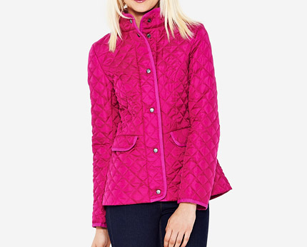 Peplum Quilted Jacket - Pink, Black