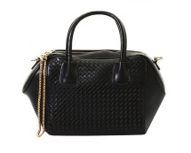 Quilted Chain Tote Bag - Black, Yellow