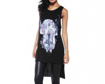 Skull Print Drop Back Top - Black, Cream