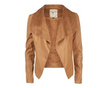 Suedette Waterfall Jacket - Tan, Black