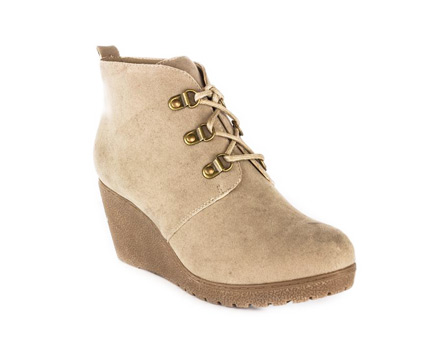 Lilley Suede Wedge Ankle Boot - Beige